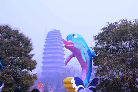 Small Wild Goose Pagoda and a tacky dolphin.