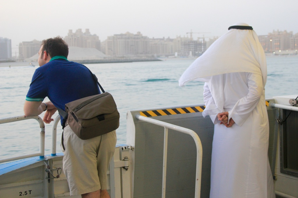 David and a local guy on a boat on our way from the Marina to old Dubai.