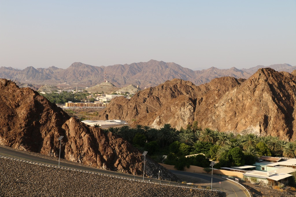 Hatta village nestled in the mountains as seen from the dam.